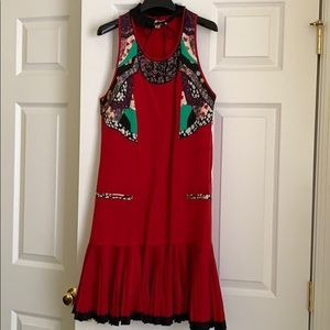 Coach Red Floral Patchwork Dress